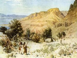 David 's camp at Ein Gedi where he hid - Bible by William Brassey Hole