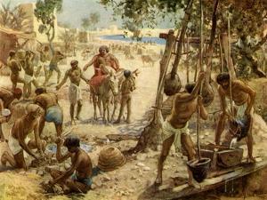Israelites making bricks iin Egypt Exodus I II:14 - Bible by William Brassey Hole
