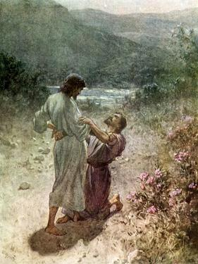 Jacob and the angel at Peniel - Bible by William Brassey Hole
