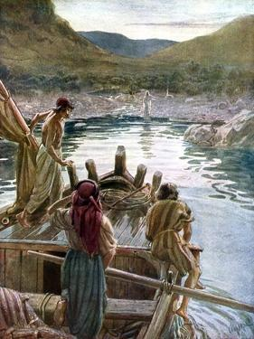 Jesus appears to the disciples at the sea of Galilee - Bible by William Brassey Hole