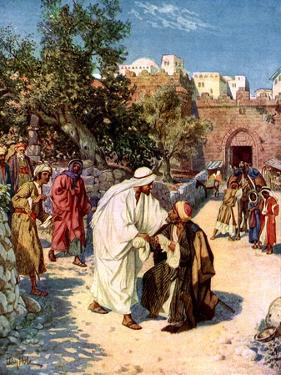 Jesus cleanses a leper - Bible by William Brassey Hole