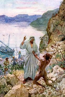 Jesus cures a demon-possessed man - Bible by William Brassey Hole