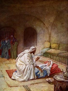 Jesus heals a sick girl - Bible by William Brassey Hole