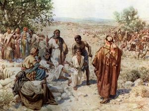 Joseph taken out of the pit and sold into slavery by his brothers - Bible by William Brassey Hole