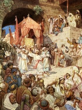 King David bringing the ark into Jerusalem - Bible by William Brassey Hole