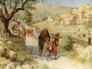 King David fleeing from Jerusalem is cursed by Shimei - Bible by William Brassey Hole