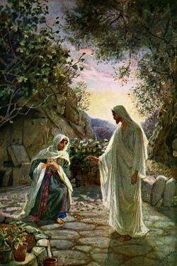 Mary Magdalene speaks to the risen Jesus - Bible by William Brassey Hole