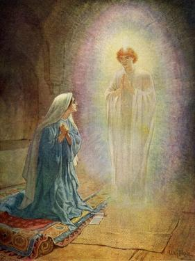 Mary sees the angel Gabriel - Bible by William Brassey Hole