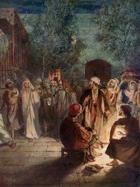 Peter denies knowing Jesus a third time - Bible by William Brassey Hole