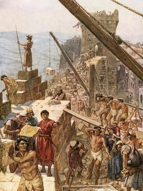 Rebuilding the Wall of Jerusalem under Nehemiah by William Brassey Hole
