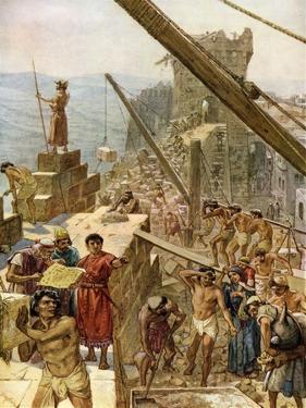Rebuilding the walls of Jerusalem under Nehemiah - Bible by William Brassey Hole