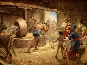 Samson Grinding in Prison at Gaza - Bible by William Brassey Hole