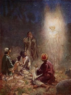 The Angel of the Lord appears to the shepherds - Bible by William Brassey Hole