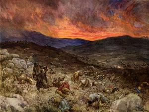 The Death of Saul at Gilboa - Bible by William Brassey Hole