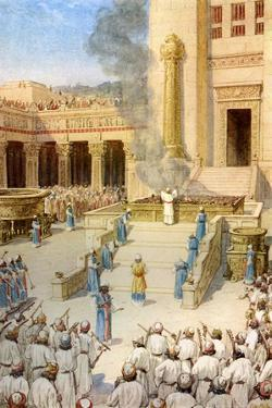 The dedication of the Temple in Jerusalem built by King Solomon - Bible by William Brassey Hole
