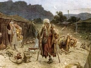 The four lepers looting the camp of the Syrians - Bible by William Brassey Hole