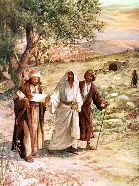 Two disciples walk with Jesus - Bible by William Brassey Hole
