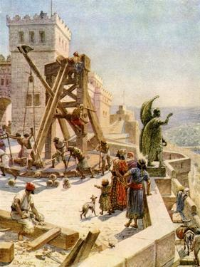 Uzziah erects engines of war on the walls - Bible by William Brassey Hole