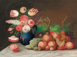 Still Life with Fruit and Flowers, C.1840 by William Buelow Gould