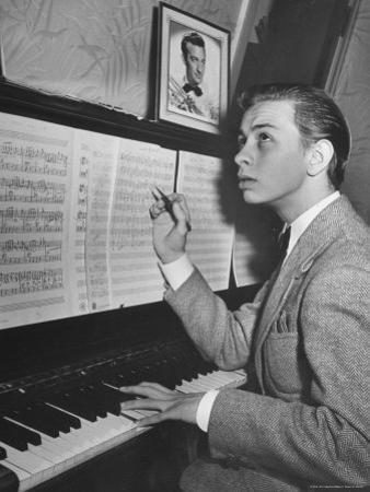 Boy Drummer and Composer Mel Torme, Playing the Piano