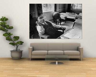 Mayor Fiorello LaGuardia Blowing Smoke Rings Sitting at Desk in His Office
