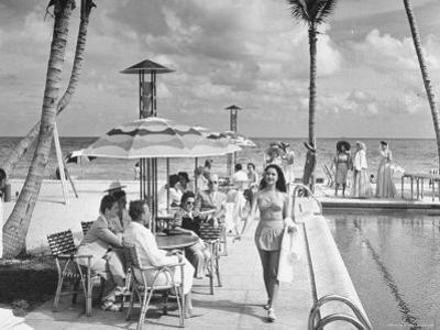 Miami Beach's Versailles Hotel Holding a Fashion Show on Terrace, Sponsored by Saks Fifth Avenue