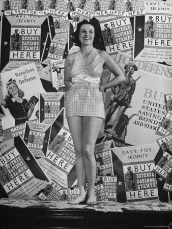 Stamp Girl Jane Richards Heckaman, Modeling an Outfit Made of Defense Bond Stamps
