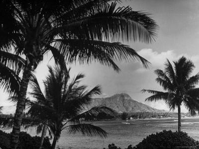 Waikiki Beach with Diamond Head in Rear as Seen from Across the Bay at the Royal Hawaiian