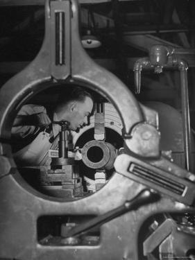 Worker Working on a Propeller Blade For a B-18 Bomber by William C. Shrout