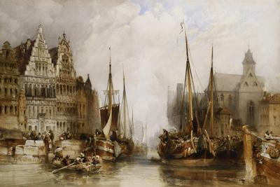 Houses of the Franc Bateliers and Church of St. Nicholas on the Canal at Ghent, 1845