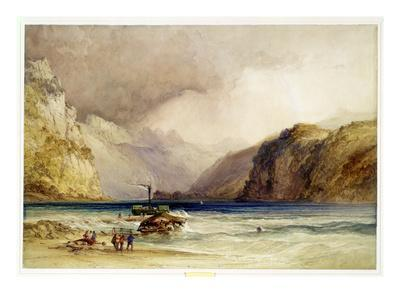 Wallenstadt, from Wesen, Switzerland, 1842 (W/C and Bodycolour on Wove Paper)