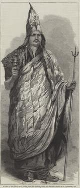 A Lama of the Dalai Sect, Thibet, with His Praying-Wheel and Trident by William Carpenter