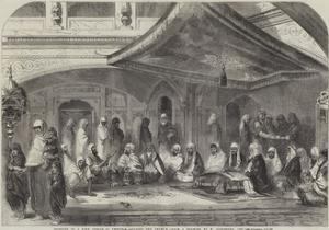 Interior of a Sikh Temple at Umritzir, Reading the Grunt'H by William Carpenter