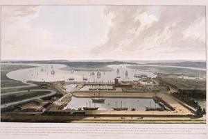 East India Docks, Poplar, London, 1808 by William Daniell