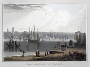 'Liverpool, taken from the oppersite side of the River', 1815 by William Daniell