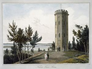 'Nelson's Tower, Forres', Moray, Scotland, 1821 by William Daniell