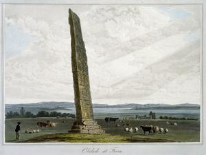 'Obelisk at Forres', Moray, Scotland, 1821 by William Daniell