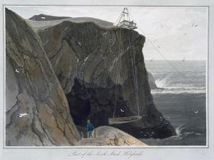 'Part of the South Stack, Holyhead', Anglesey, Wales, 1829 by William Daniell