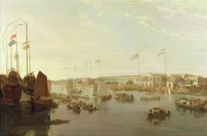The European Factories, Canton, 1806 by William Daniell