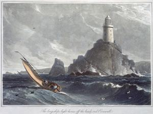 'The Longships Lighthouse off the Lands End, Cornwall', 1814 by William Daniell