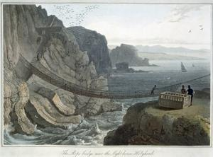 'The Rope Bridge near the Lighthouse, Holyhead', Anglesey, Wales, 1829 by William Daniell