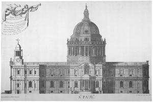 South Elevation of St Paul's Cathedral, City of London, 1702 by William Emmett