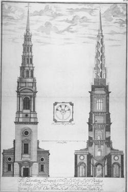St Bride's Church, Fleet Street, City of London, 1700 by William Emmett