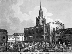 View of the Church and Graveyard of St James Clerkenwell, London, C1820 by William Fellows