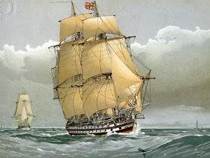 A 74 Gun Royal Navy Ship of the Line, C1794 (C1890-C189) by William Frederick Mitchell