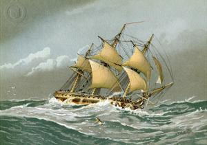 A Royal Navy 28 Gun Frigate, C1794 by William Frederick Mitchell