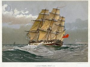 A Royal Navy 38 Gun Frigate, C1770 by William Frederick Mitchell