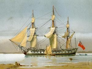 A Royal Navy 42 Gun Frigate, C1780 by William Frederick Mitchell