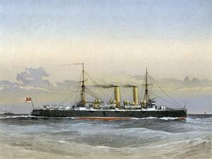 HMS Blenheim, Royal Navy 1st Class Cruiser, 1892 by William Frederick Mitchell
