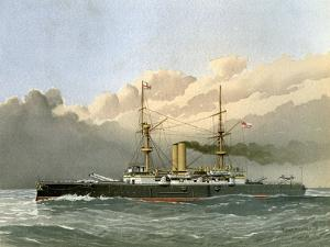 HMS Royal Sovereign, Royal Navy 1st Class Battleship, C1890-C1893 by William Frederick Mitchell
